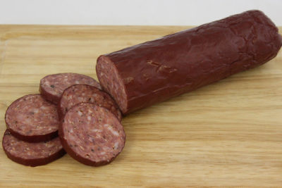 pork beef summer sausage boarded
