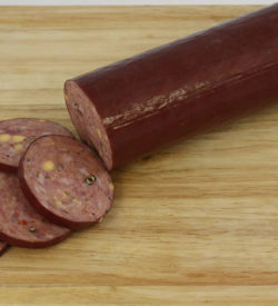 pork venison jalepeno cheese summer sausage boarded
