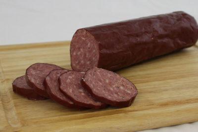 pork venison summer sausage boarded