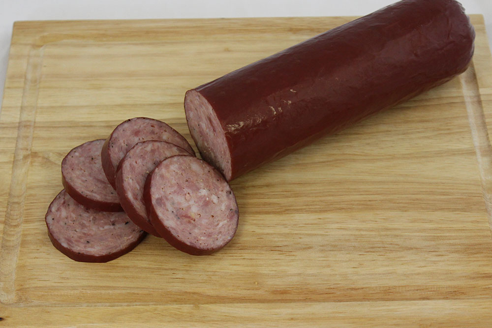 turkey pork summer sausage boarded